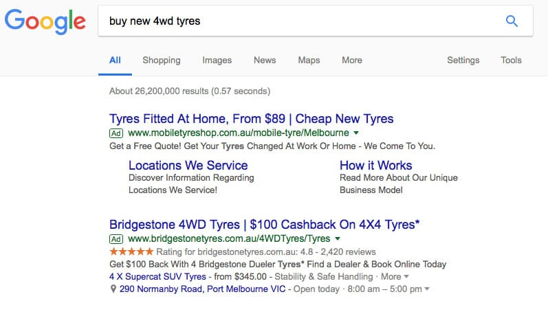 google adwords results